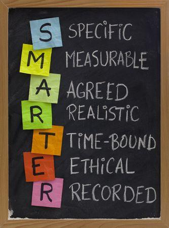 goals: SMARTER (spezifische, messbare, vereinbarten, realistische, Zeit-gebunden, ethische, aufgezeichneten) - Akronym f�r Ziel Einstellung Ansatz, wei�e Kreide Handschrift, bunte Kurznotizen auf blackboard