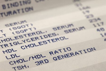 cholesterol: detail of blood screening results prinitng with focus on cholesterol