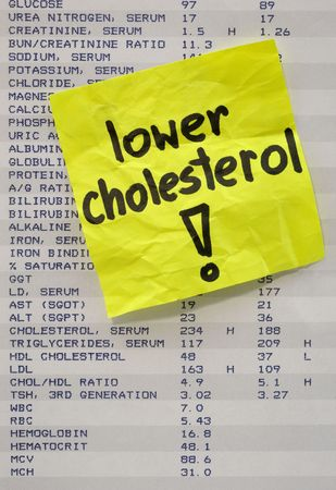 preventive: lower cholesterol - yellow reminder note on printout with blood test results