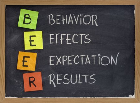 BEER (behavior, effects, expectation, results) acronym - assessing performance of project or new initiative, white chalk handwriting, color reminder notes on blackboard