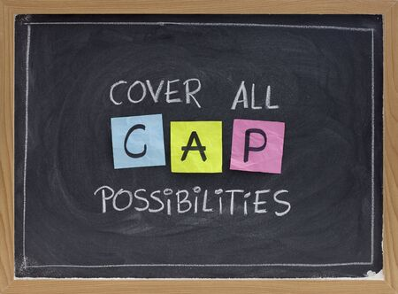 CAP (cover all possibilities) - versatile training and planning acronym, white chalk handwriting, colorful sticky notes on blackboard Stock Photo - 6161099