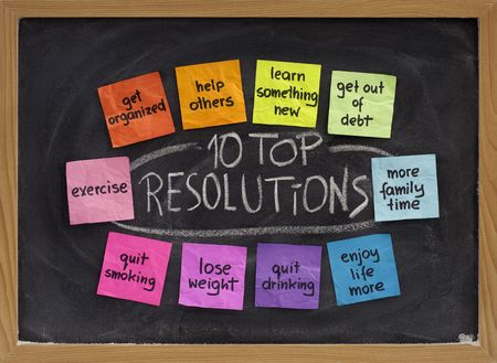 10 top new year resolutions - colorful sticky notes on blakboard with white chalk texture Stok Fotoğraf