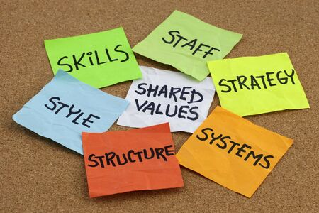 7S model for organizational culture, analysis and development (skills, staff, strategy, systems, structure, style, shared values) - colorful reminder notes on cork bulletin board Stock Photo - 6181728