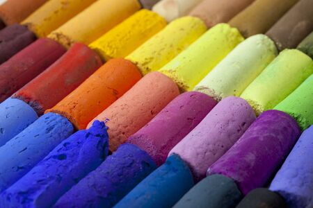 a macro of soft artist pastel crayons with vibrant blue, red, green, yellow colors Stock Photo - 6231754