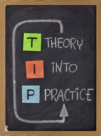 practical: TIP - theory into practice concept, colorful reminder notes and white chalk handwriting on blackboard