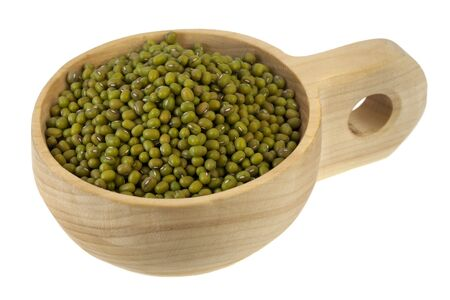 mung beans on a primitive, rustic, wooden scoop (bowl), isolated on white Stock Photo - 6370891