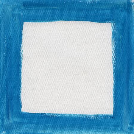 hand painted  blue watercolor frame (border) surrounding white blank square on artist canvas Stock Photo - 6370890