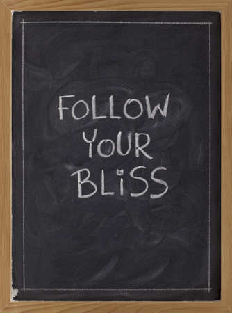 follow your bliss spiritual reminder - white chalk handwriting on a blackboard photo