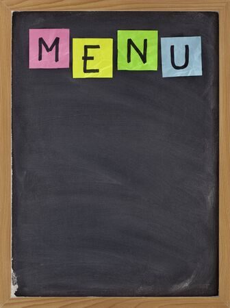 blank restaurant menu - sticky note title on blackboard with white chalk smudges Stock Photo - 6514216