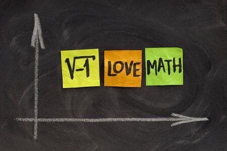 matematica: ra�z cuadrada de un n�mero negativo - me encanta concepto de matem�ticas, coloridas notas adhesivas, escritura a mano, tiza blanca, bas�ndose en la pizarra  Foto de archivo