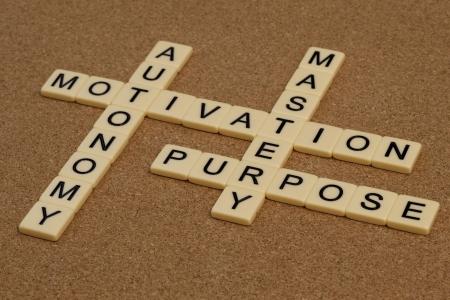 autonomia: tres elementos de la verdadera motivación - maestría, autonomía, propósito - crucigramas con bloques de Marfil carta a bordo de corcho