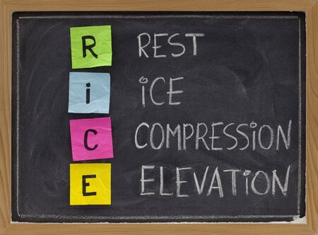 RICE (Rest, Ice, Compression, Elevation) - humorous medical acronym for the treatment of certain leg and foot injuries; colorful sticky notes, white chalk handwriting on blackboard