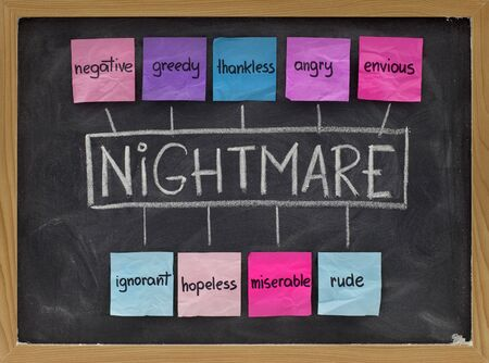 miserable: NIGHTMARE (Negative, Ignorant, Greedy, Hopeless, Thankless, Miserable, Angry, Rude, Envious) acronym of negative emotion and character traits, colorful sticky notes, white chalk handwriting on blackboard Stock Photo