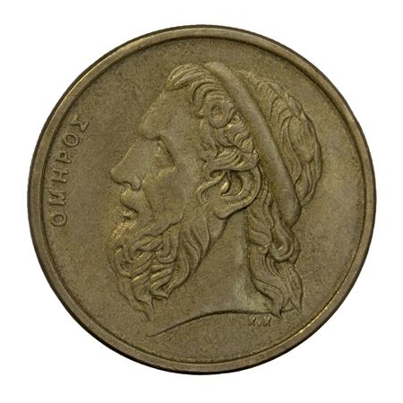 homer: portrait of Homer, legendary ancient Greek epic poet, author of the Iliad and the Odyssey, 50 drachma circulated coin from 1988 (copper with alumnium and nickel) Stock Photo