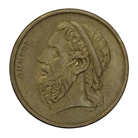 Retrato de Homer, legendario poeta épico griego antiguo, autor de la Ilíada y la Odisea, 50 dracmas distribuye moneda desde 1988 (cobre con alumnium y níquel)