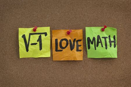 square root: square root of negative number - I love math humorous concept, colorful sticky notes, handwriting on cork bulletin board Stock Photo