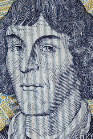 copernicus: portrait of Nicolaus Copernicus - detail of engraving on 1000 zloty banknote from Poland