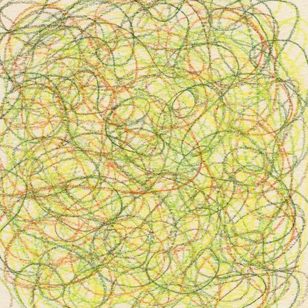 hand-drawn crayon circular scribble in green, red and yellow colors on ivory paper background Stock Photo - 6593316