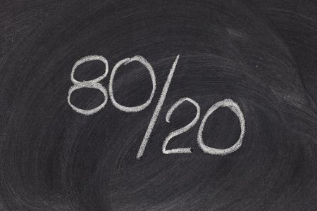 represented: Pareto principle or eighty-twenty rule represented on a blackboard - white chalk handwriting