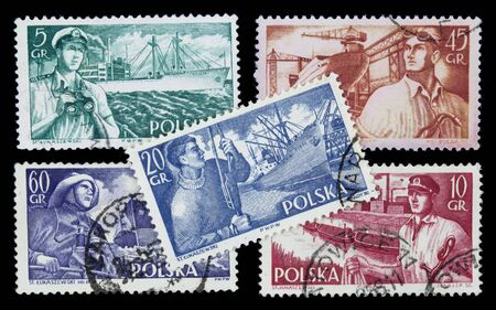 docker: POLAND, circa 1960 - sea related professions (sailor, fisherman, shipyard worker, captain, docker) on a set of vintage post stamps Stock Photo