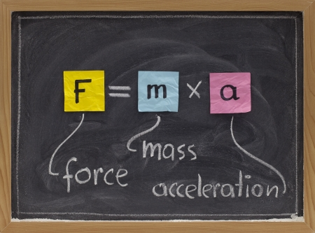 force applied to a body produces a proportional acceleration - Newton second law presented with sticky notes and white chalk handwriting on blackboard Stock fotó