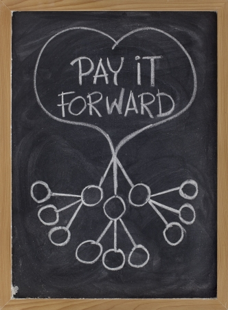 pay it forward concept illustrated with white chalk drawing on blackboard