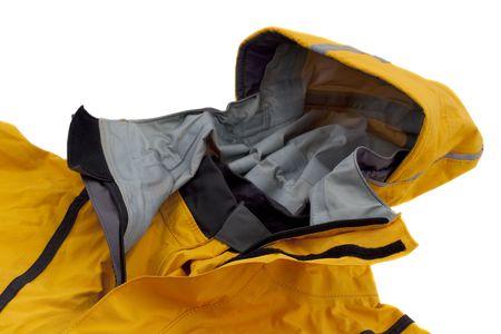 Anorak: Motorhaube und Kragen wasserdicht Meer Kajak Jacke (Anorak), konzentrieren sich auf doppelte Schlie�ung und Hals Gummi Dichtung, isoliert auf wei� Lizenzfreie Bilder