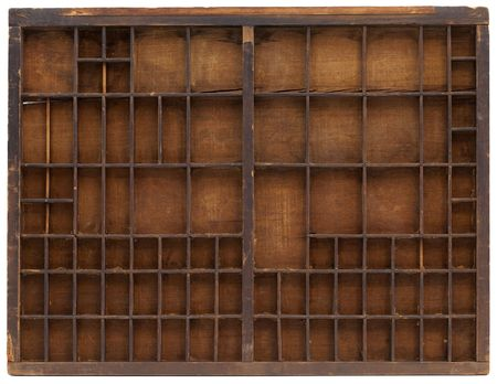 typesetter: vintage wooden typesetter case or shadow box with scratches, cracks and staines, isolated on white