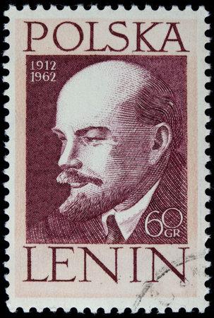 폴란드 1962- 빈티지 취소 게시물 스탬프에 블라디미르 레닌의 초상화