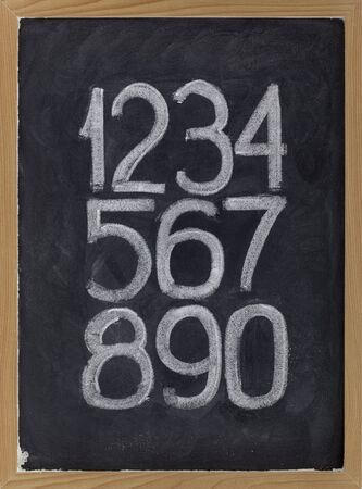arabic number: ten arabic numerals handwritten with white chalk on a blackboard