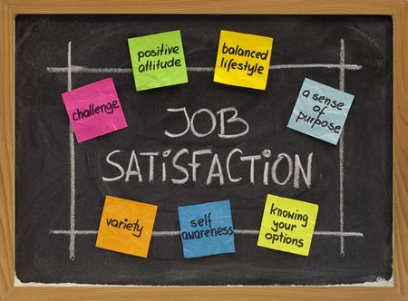 ingredients of job satisfaction concept - white chalk handwriting and color sticky notes on blackboard Фото со стока