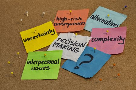 consequences: problems in decision making process - uncertainty, alternatives, risk consequences, complexity, personal issues; color notes and pins on cork bulletin board board