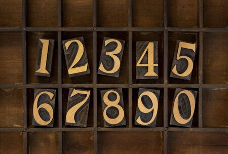 ten arabic numerals from zero to nine, vintage wood letterpress blocks stained by black ink in old typesetter case with dividers, types flipped horizontally Stock Photo