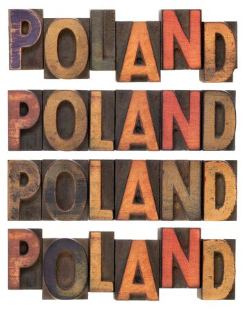 word Poland (four versions) in vintage letterpress wood type, stained by ink, isolated on white Stock Photo - 6790285