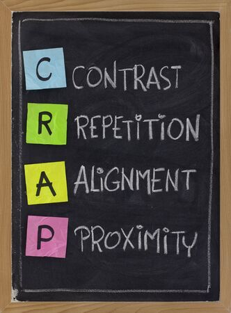 crap: CRAP - contrast, repetition, alignment and proximity, the four principles of sound design, white chalk handwriting, color sticky notes on blackboard
