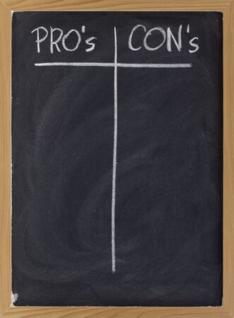 pros and cons, blank list of pro and con arguments - white chalk handwriting on a blackboard
