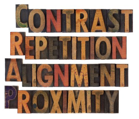 CRAP - contrast, repetition, alignment and proximity, the four principles of sound design in vintage wood letterpress type, stained by ink, isolated on white Stock Photo - 6881262