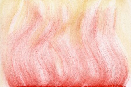 red and yellow flame abstract background - vertical smudges of soft pastel crayons on white paper
