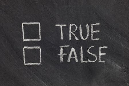 truth: true or false with checkboxes - white chalk handwriting on blackboard