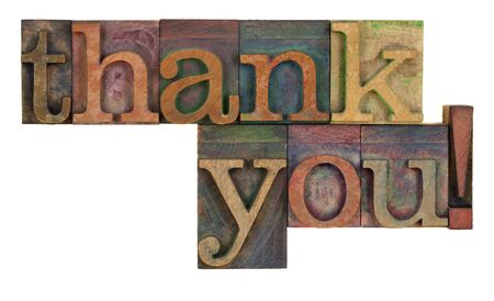 acknowledgment: thank you  words in vintage wood letterpress type, stained by color inks, isolated on white Stock Photo
