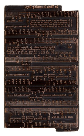 hymn: antique (1911 - one hundred years old) copper letterpress printer electrotype music plate with hymn (song)