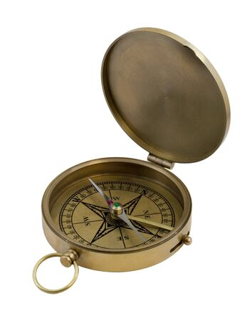vintage brass pocket compass isolated on white
