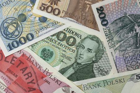 frederic: Retrato de Frederic Chopin en un billete de polaco vintage enmarcado por otros billetes de la misma edici�n
