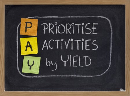 priority: PAY (prioritise activities by yield ) acronym, principle of working smart, color sticky notes and white chalk handwriting on blackboard
