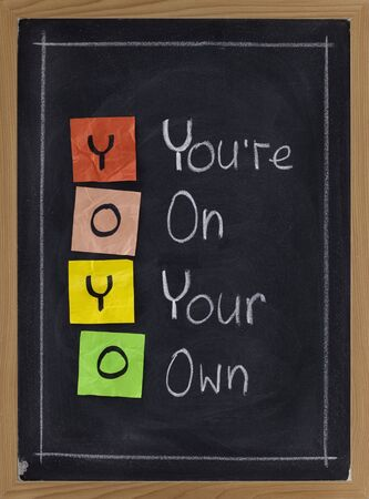 YOYO acronym (you are on wyour own), sticky notes and white chalk handwriting on blackboard Stock Photo - 7224372