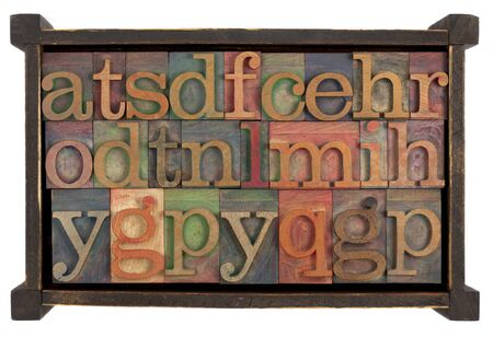letters of alphabet (random selection) 0 vintage letterpress type blocks in rustic wooden box, isolated on white photo