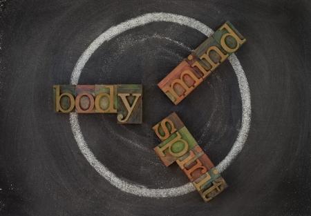 cerebro blanco y negro: concepto de ciclo de bienestar (cuerpo, mente, esp�ritu) - bloques, blanco tiza dibujar en la pizarra de tipo vintage tipograf�a de madera.
