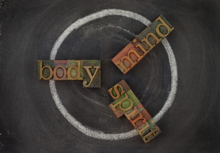 wellness cycle concept (body, mind, spirit) - vintage wooden letterpress type blocks, white chalk drawing on blackboard Imagens