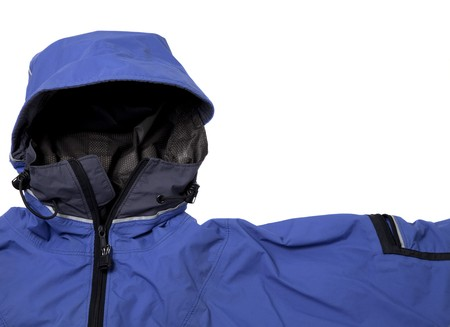 breathable: a detail of blue waterproof breathable paddling jacket  with hood, isolated on white