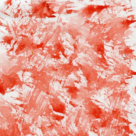 abstract background - splashes of red watercolor paint on white artist canvas Фото со стока